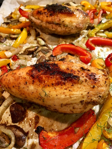 best healthy sheet pan chicken with peppers, onions, and mushrooms